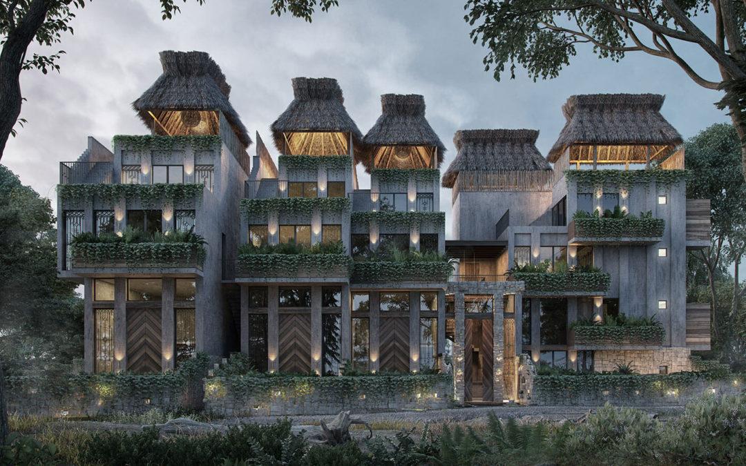 Condos a la venta en Tulum con arquitectura maya